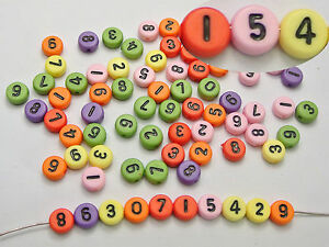 """500 Mixed Color Assorted Number """"0-9"""" Acrylic Coin Beads 4X7mm"""