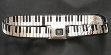 Piano Keyboard Print Adjustable Belt with GM Seat Belt Buckle Closure