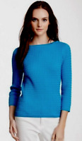 In Cashmere Cable Knit Cotton/Silk Sweater Caribbean Blue NWT $145
