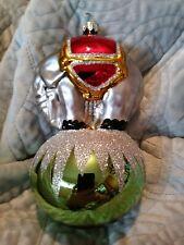 90-086-3 Christopher Radko Green Center Ring Elephant on Ball Christmas Ornament