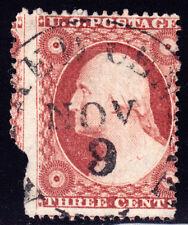 "#26A - 3 Cents 1857, 88L10e, black ""ALFRED CENTRE/NOV/9/NY"" Brownish carmine"
