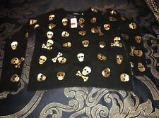 Saks Fifth Avenue Gold  Skull  100% Cashmere Sweater Black Punk $350