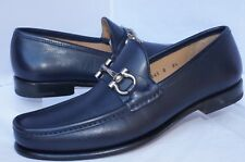 New Salvatore Ferragamo Mason Mens Shoes Blue Size 8.5 Loafers Leather
