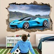 Blue Sport Car 3D Wall Art Sticker Decal for Kids Bedroom Decor Supercar CD21