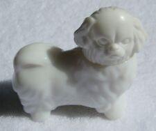 "Vintage 1970s Signed ""Avon"" White Pekinese Dog Glass Bottle Perfume Decanter"