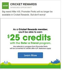 Cricket Referral Code $25. New accounts receive credit after 60 days of service