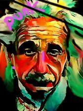 Albert Einstein Punk 120 x90 cm Silber Aluminium PopArt/Malerei/Bild/Street Art