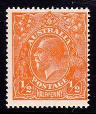Australia 1923 King George V 1/2d Orange Single Wmk Variety 66(6)k MNH