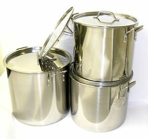 32 40 52 QT Quart Stainless Steel Stock Pot Steamer Brew Kettle w/lid BA76-set3