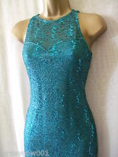 NEW *** SALE *** £45 JANE NORMAN SIZE 8, HIGH NECK LACE & SEQUIN TEAL MIDI DRESS