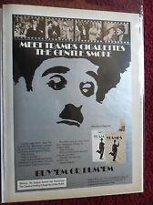 1975 Print Ad TRAMPS Cigarettes ~ Charlie Chaplin Filmclip Buy 'Em or Bum 'Em