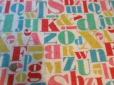 Michael Miller Letterpress Letters Cotton Quilting Fabric FQ 50cm x 54cm