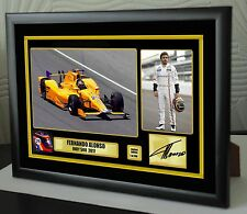 "Fernando Alonso Indy 500 2017 Framed Canvas Signed Print ""Great Gift  Souvenir"""