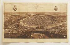 1926 Original Antique Panorama View Map of Prague