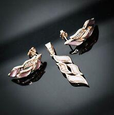 14K Rose Gold, Mother of Pearl & Diamond Earrings & Pendant