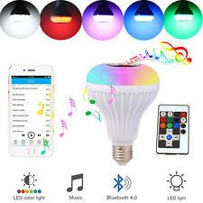 Bluetooth LED RGB Bulb Wireless Light Speaker 12W Smart Music Play Lamp + Remote