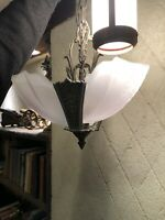 Antique Vintage 1930s Three Light Frosted Slip Shade Art Deco Chandelier Jazz