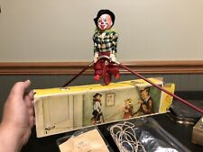 Vintage Fewo West Germany Unicycle Tight Rope Walker Celluloid Wood Clown 1950s