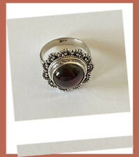 Artisan Hand Crafted Natural Garnet Sterling Silver Cocktail Ring from India!
