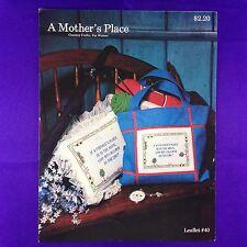 "Vintage cross stitch notice folk art style ""a mother's place"" de leisure arts"
