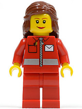 LEGO - MINIFIGURE - CITY - Post Office - White Envelope and Stripe, Red  POST009