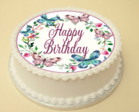 BUTTERFLY BIRTHDAY EDIBLE CAKE & CUPCAKE TOPPER/DECORATION WAFER PAPER/ICING