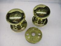 Old Brass Door Knobs Handles Blind Backing Plates Pair Old Late Vintage
