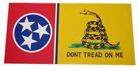"Tennessee State Gadsden Don't Tread On Me Vinyl Decal Bumper Sticker 3.75""x7.5"""