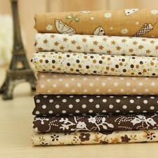 7 Assorted Brown Series Pre-Cut Fat Quarters Bundle Cotton Cloth Quilting Fabric
