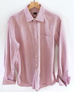 """Paul Smith Red/White/Pink Checked Shirt Double Cuff 16.5""""/42"""