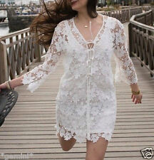 Zara size M 38 40 Guipure Lace Crochet dress Embroidery kimono robe avec dentelle