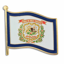 "NEW Classy WEST VIRGINIA WV Flag Lapel Tie Pin 1"" wide! hancock hardy harrison"