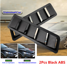 Universal Black Car Hood Vent Louver Air Flow Decorative Intake Scoop Cover 2Pcs