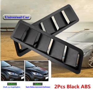 Universal Black Car Hood Vent Louver Air Flow Decorative Intake Scoop Cover 2Pcs
