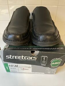 Streetcars Mens Carrera Loafer Shoes Black  Leather  Slip-On 10 1/2M