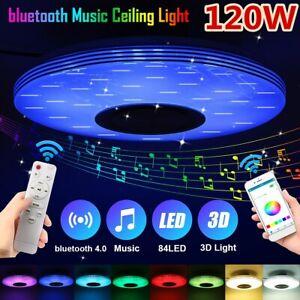 Dimmbar 120W 3D Effekt LED Deckenleuchte bluetooth Lautsprecher Lampe APP Remote