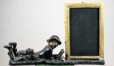 Antique Cast Bronze Brass Photo Frame Boy Figurine