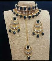 Kundan Black Necklace Earrings Tikka Gold Plated Bollywood Bridal Indian Jewelry