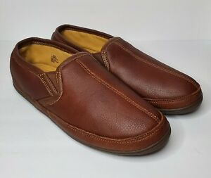 LL Bean Elkhide Brown Leather Slippers Slip On House Shoes Mens Size 12 Medium