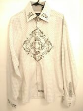 English Laundry Mens XL White Black Plaid Floral Long Sleeve Button Up Shirt