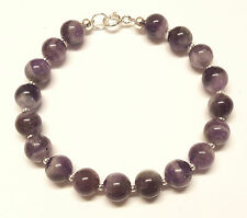 Sterling Silver 7.5 inch Bracelet with Genuine Banded Amethyst Gemstone Beads
