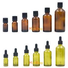 Essential Oil Bottle Amber Dropper Safty Cap Dispenser 5ml 10ml 20ml Glass New
