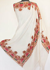 Large, Crewel Embroidered, Wool Shawl. Ivory with Kashmir, Ari Embroidery. Stole
