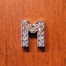 lot de 2 lettres M strass 12x11 mm pour bracelet 8 mm