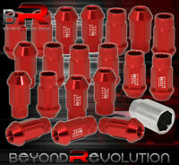 For Toyota 12X1.5mm Locking Lug Nuts 20Pc Extended Forged Aluminum Tuner Set Red