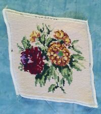 Finished Handmade Needlepoint Tapestry Fabric Floral Roses Flowers Pillow Frame