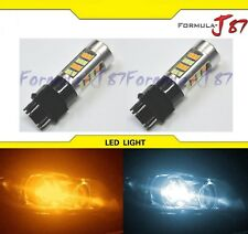 2835 LED Light Switchback Amber Orange 6K White Two Bulbs 3057 Turn Signal DRL