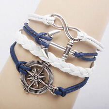 Nautical Leather Bracelet Infinity Anchor Friendship Charm Wrap plated Silver