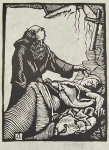 """Allen Lewis Woodcut Print Of The Last Rites Signed In Pencil 9"""" X 6 1/4"""""""