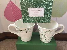 More details for sophie conran portmeirion pottery mistletoe mugs x 2 boxed set christmas white